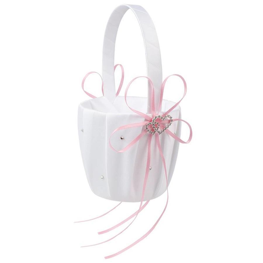 Bloemenmandje / Strooimandje Wit - Roze met Fonkelende Hartjes en Diamantjes-1