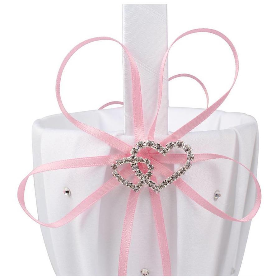 Bloemenmandje / Strooimandje Wit - Roze met Fonkelende Hartjes en Diamantjes-2