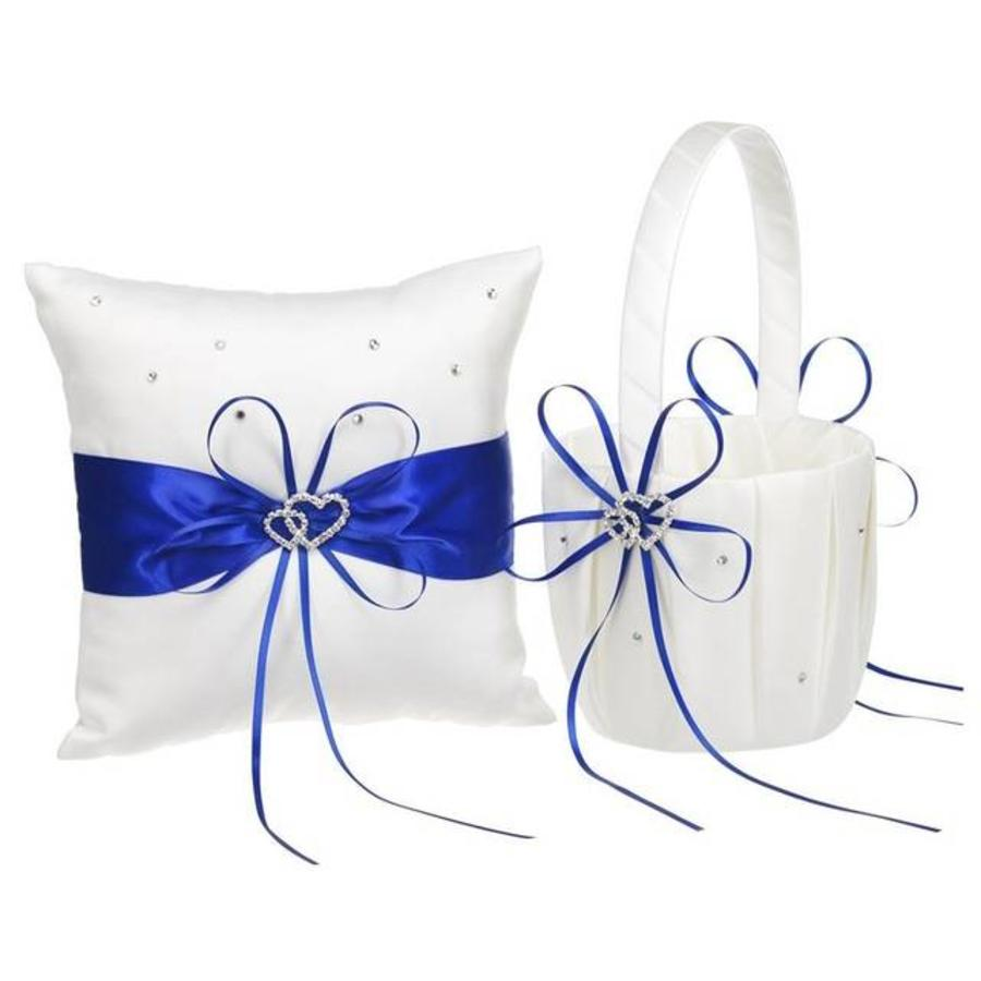 Bloemenmandje / Strooimandje Wit - Blauw met Fonkelende Hartjes en Diamantjes-5