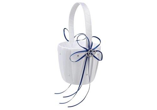 Bloemenmandje / Strooimandje Wit - Blauw met Fonkelende Hartjes en Diamantjes