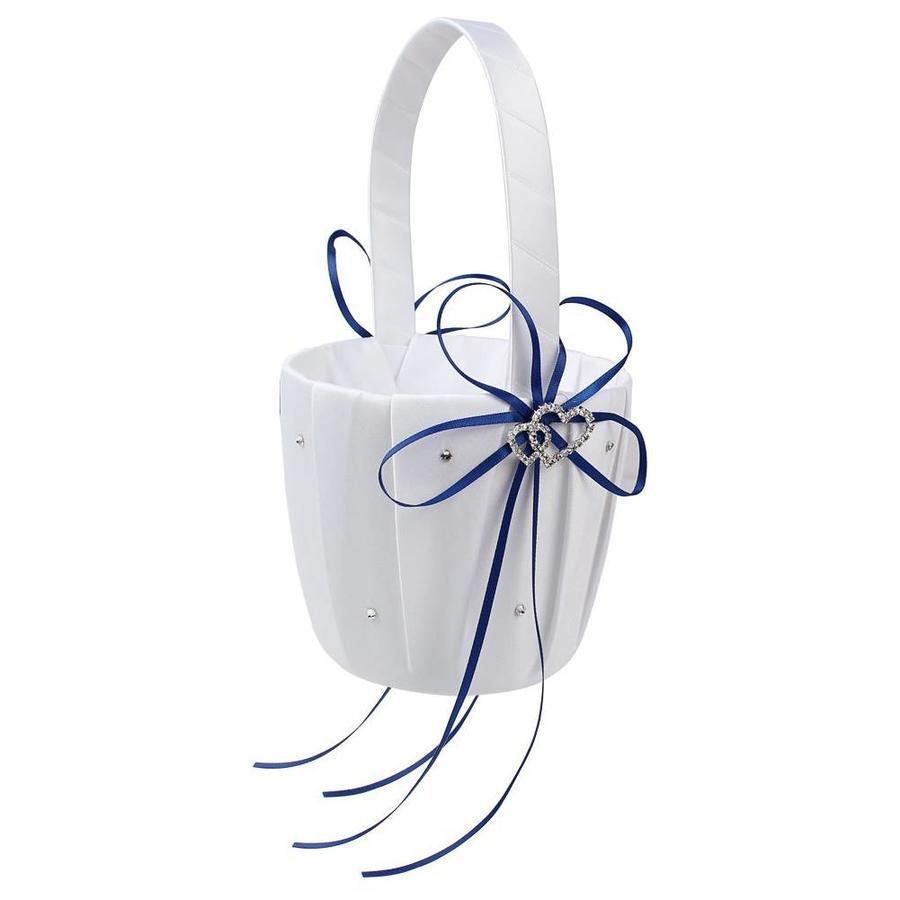 Bloemenmandje / Strooimandje Wit - Blauw met Fonkelende Hartjes en Diamantjes-1