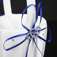 thumb-Bloemenmandje / Strooimandje Wit - Blauw met Fonkelende Hartjes en Diamantjes-7