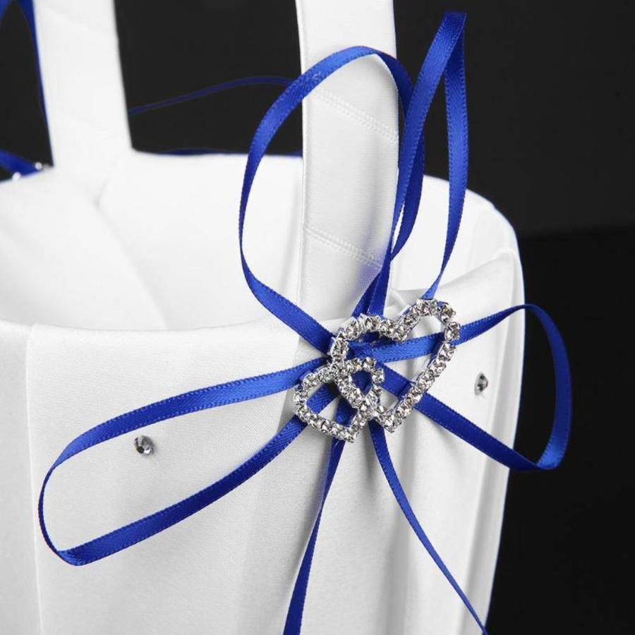 Bloemenmandje / Strooimandje Wit - Blauw met Fonkelende Hartjes en Diamantjes-7