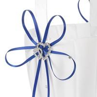 thumb-Bloemenmandje / Strooimandje Wit - Blauw met Fonkelende Hartjes en Diamantjes-2