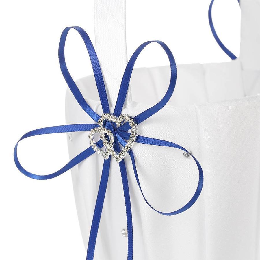 Bloemenmandje / Strooimandje Wit - Blauw met Fonkelende Hartjes en Diamantjes-2