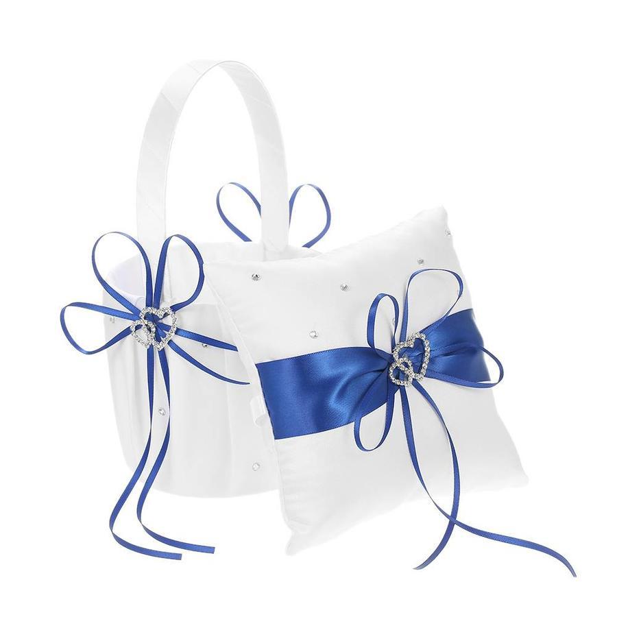 Bloemenmandje / Strooimandje Wit - Blauw met Fonkelende Hartjes en Diamantjes-6