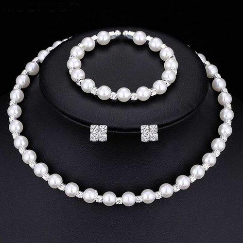 Sieraden Set met Parels en Kristallen (Ketting & Oorbellen & Armband)