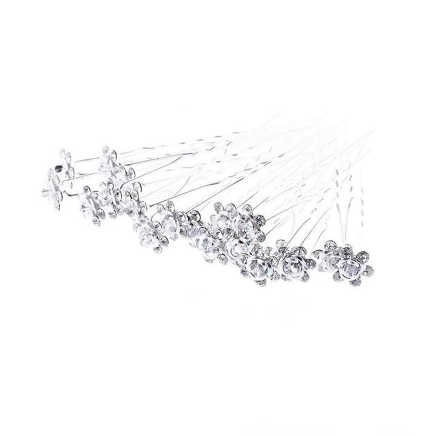 Hairpins – Zilver Grijs Roosje - 5 stuks-4