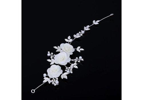 Elegant Haar Sieraad met Stoffen Bloemen