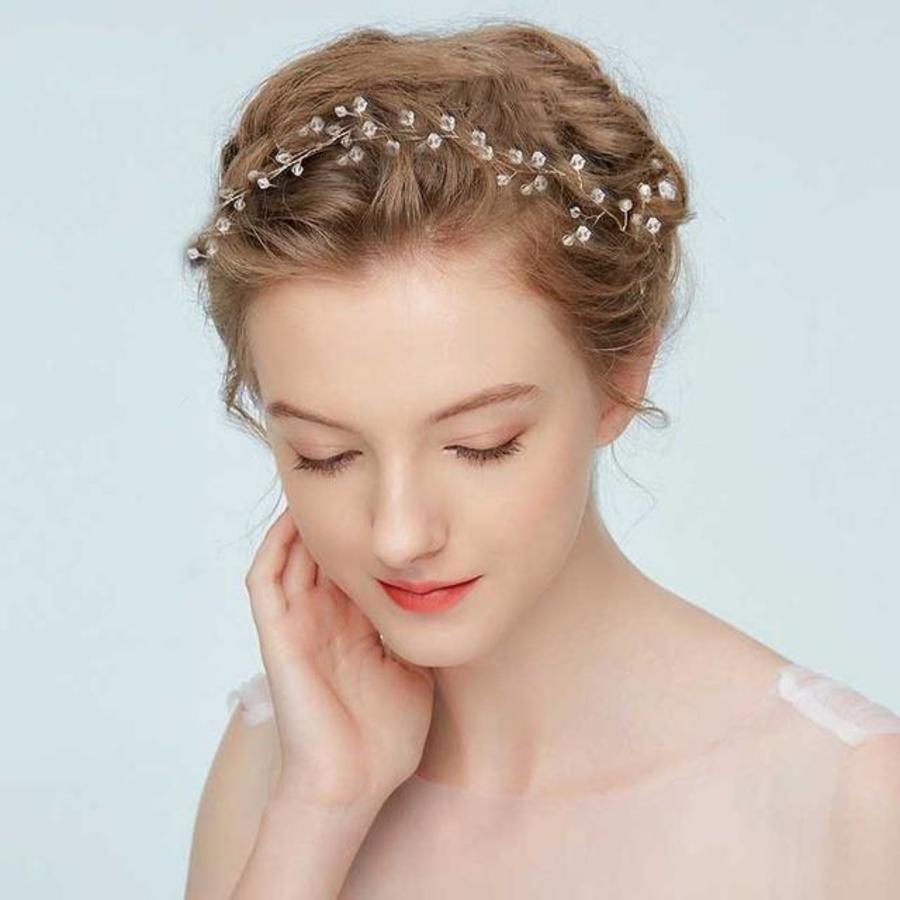 Elegant Zilverkleurig Haar Sieraad  met Kraaltjes-1