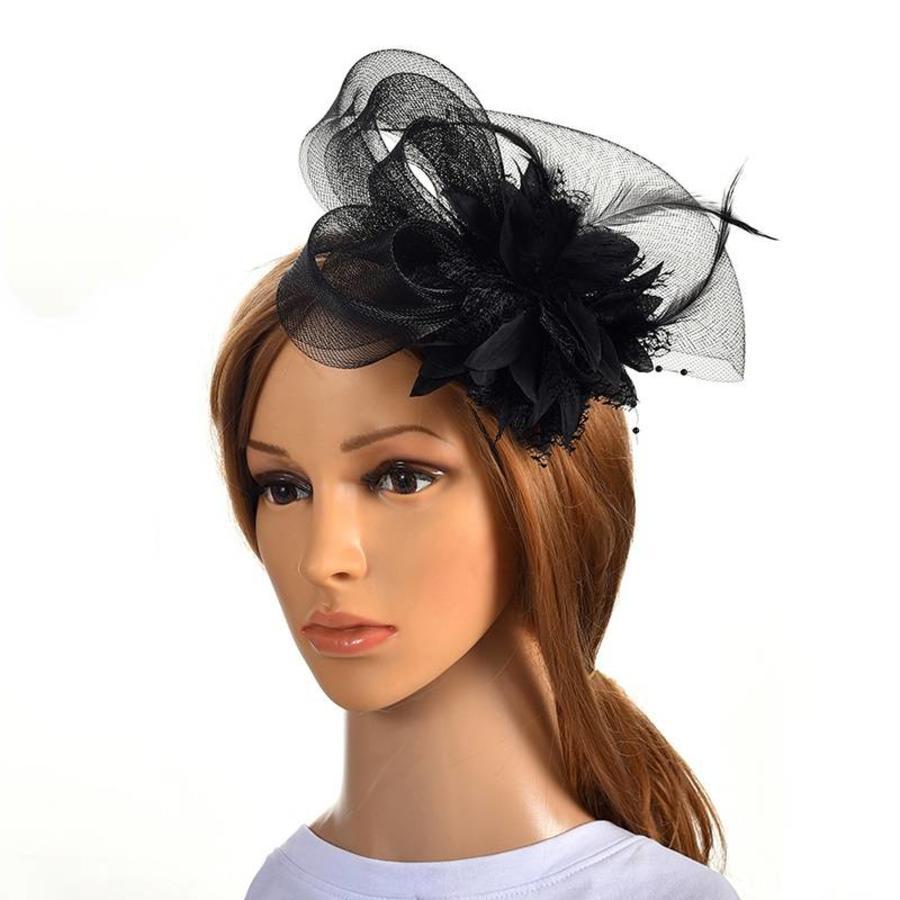 Chique Zwarte Fascinator-1