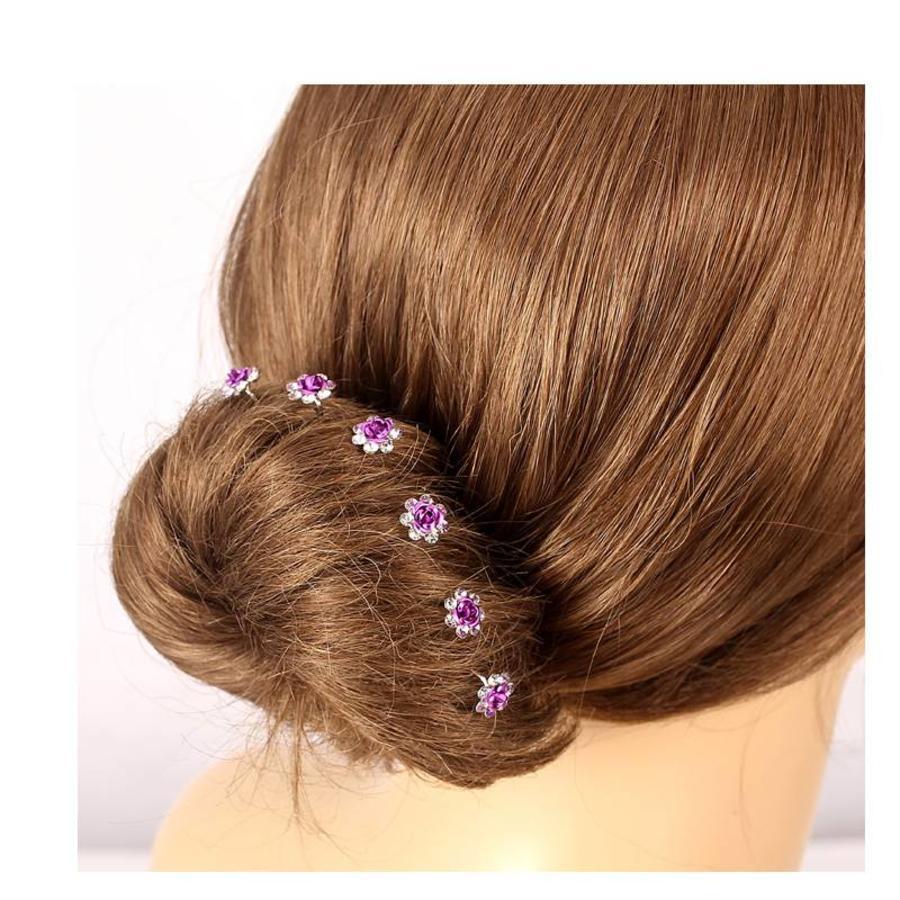 Hairpins – Donker Paars Roosje - 5 stuks-4