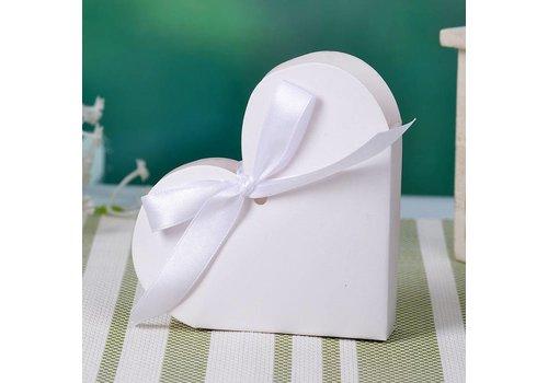 Geschenk doosjes / Cadeau doosjes - 50 stuks - Wit Hart
