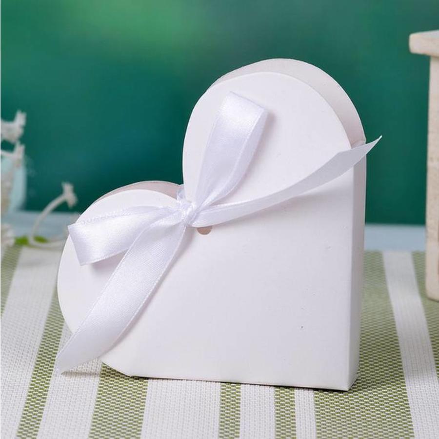 Geschenk doosjes / Cadeau doosjes - 50 stuks - Wit Hart-1