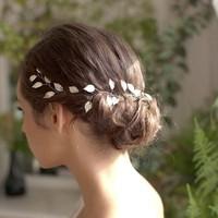 thumb-Stijlvol Zilverkleurig Haar Sieraad met Blaadjes-1