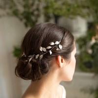 thumb-PaCaZa - Stijlvol Zilverkleurig Haar Sieraad met Blaadjes-5