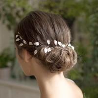 thumb-Stijlvol Zilverkleurig Haar Sieraad met Blaadjes-6