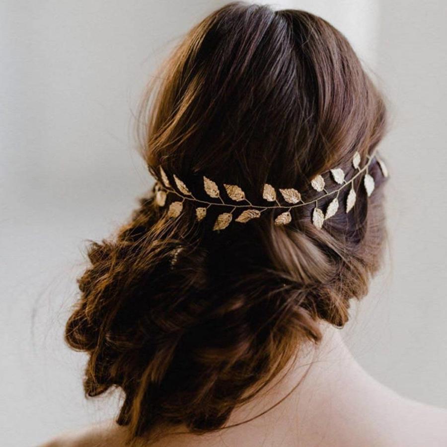 PaCaZa - Stijlvol Goudkleurig Haar Sieraad met Blaadjes-3