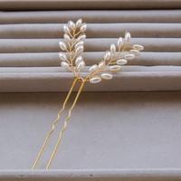 thumb-Hairpins Goud met Ivoorkleurige Parels - 2 Stuks-2