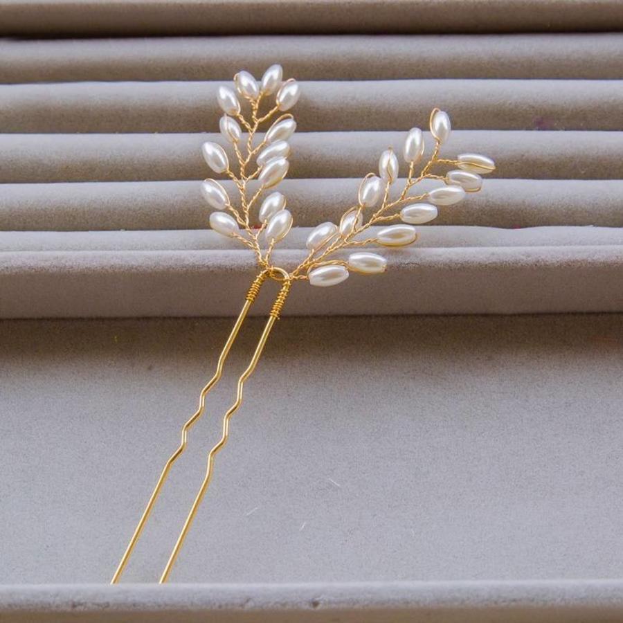 Hairpins Goud met Ivoorkleurige Parels - 2 Stuks-2
