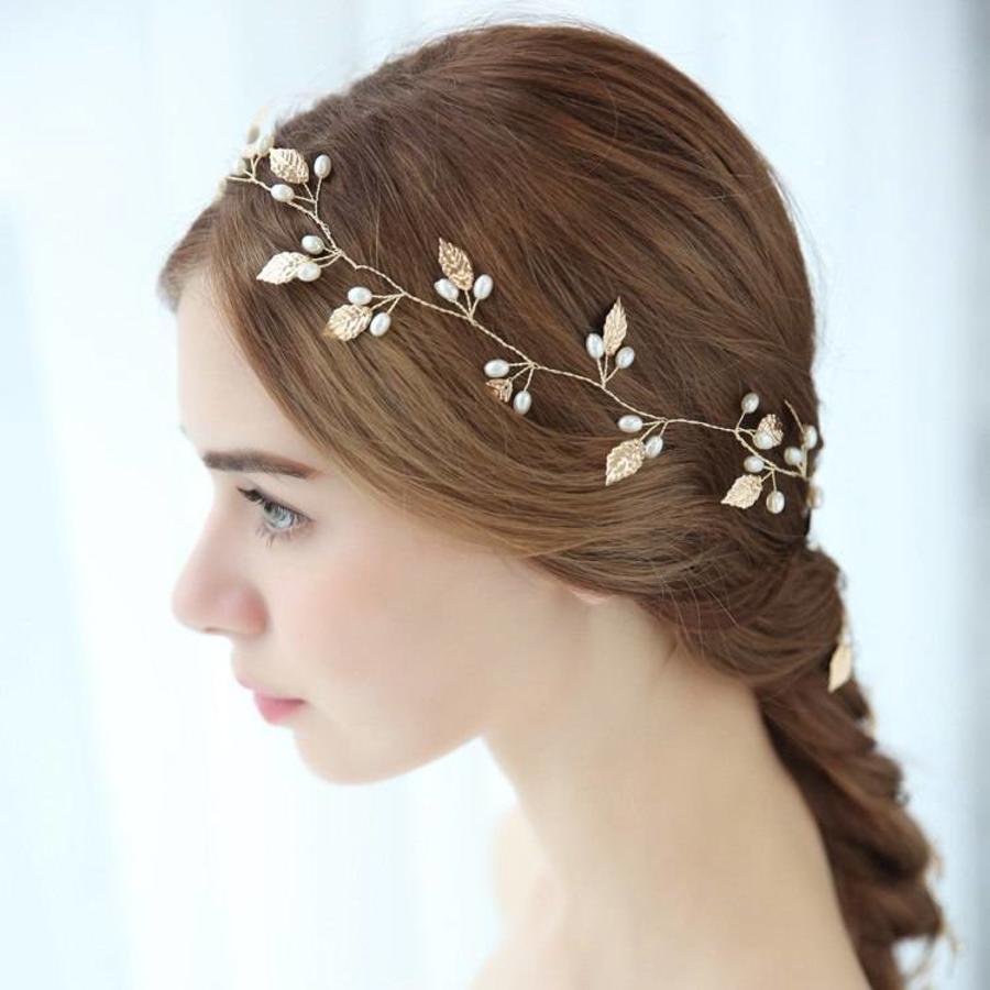 Sale - Elegant Goudkleurig Haar Sieraad-4