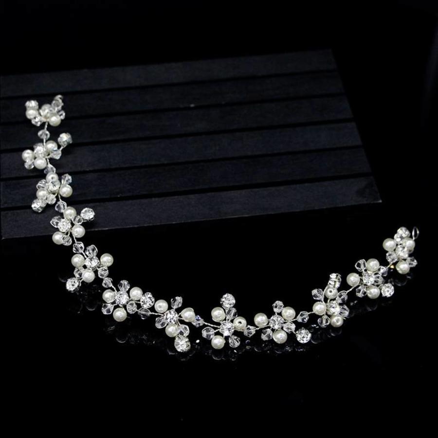 Prachtig Zilverkleurig Haar Sieraad met Ivoorkleurige Parels-5