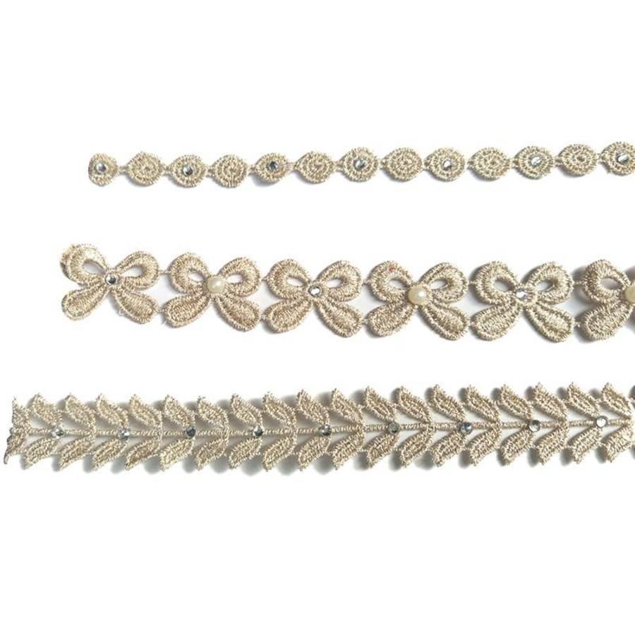 Haar Sieraad / Haarband Strik met Fonkelende Kristallen en Ivoorkleurige Parels-3