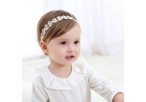 Haar Sieraad / Haarband Strik met Fonkelende Kristallen en Ivoorkleurige Parels