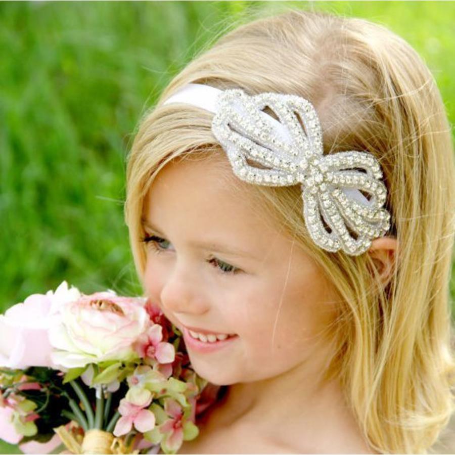 Haar Sieraad / Haarband Strik met Fonkelende Kristallen-1