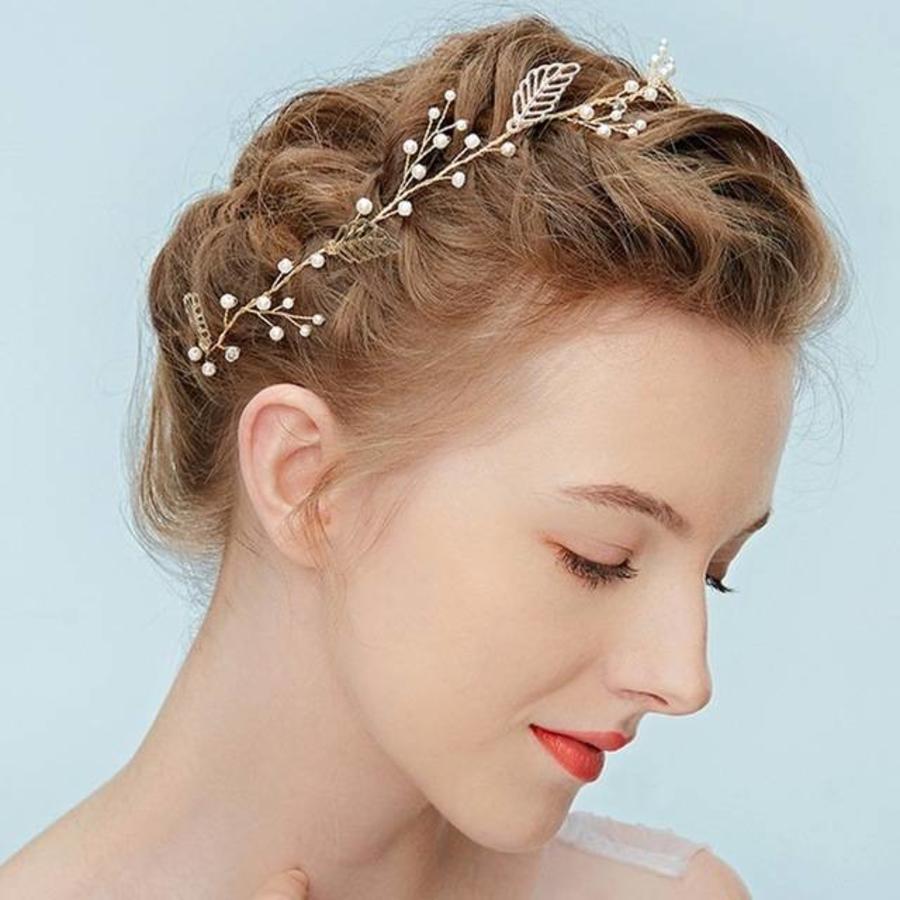 Goudkleurig Haar Sieraad met Blaadjes en Ivoorkleurige Parels-1