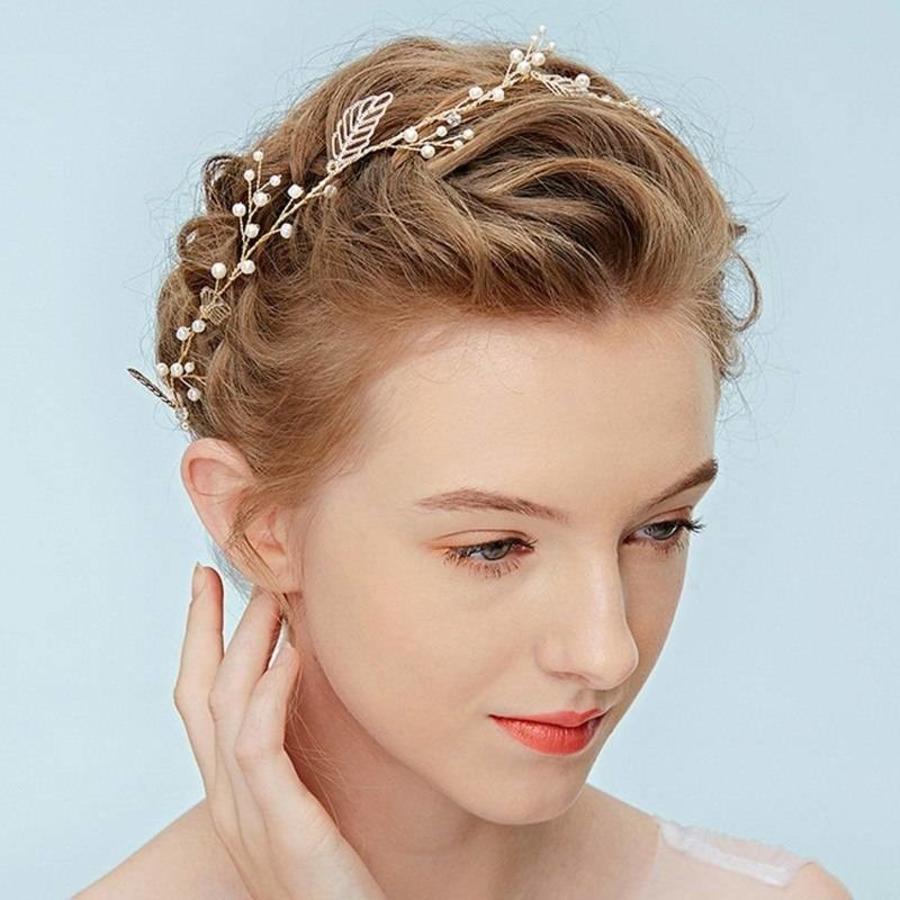 Goudkleurig Haar Sieraad met Blaadjes en Ivoorkleurige Parels-3
