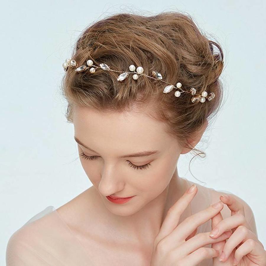Goudkleurig Haar Sieraad met Ivoorkleurige Parels en Diamanten-2