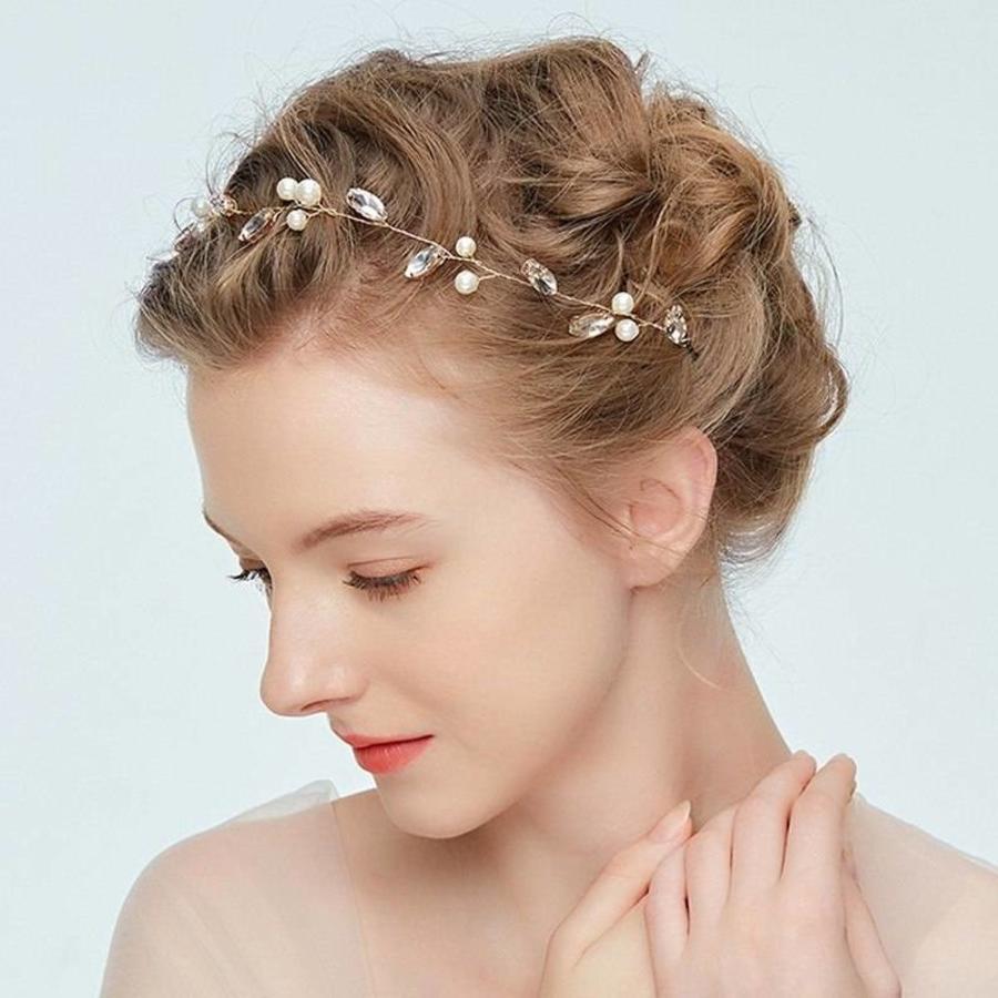 Goudkleurig Haar Sieraad met Ivoorkleurige Parels en Diamanten-4