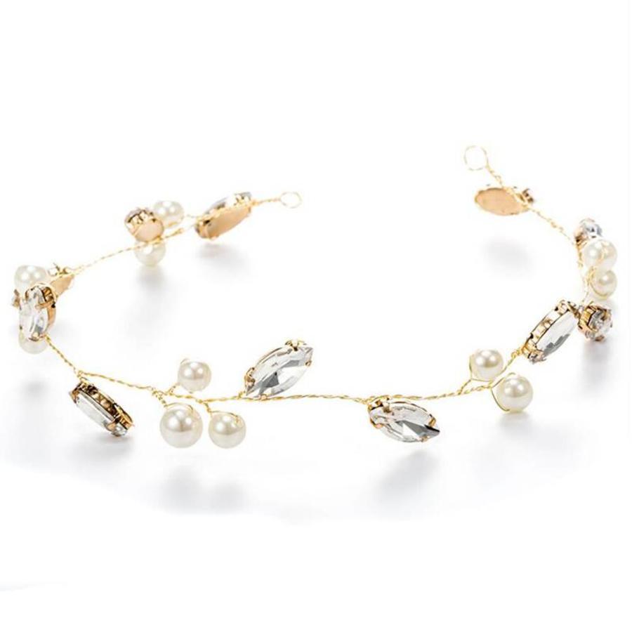 Goudkleurig Haar Sieraad met Ivoorkleurige Parels en Diamanten-3
