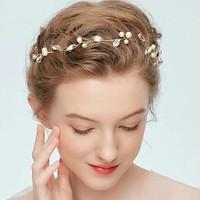 thumb-PaCaZa - Goudkleurig Haar Sieraad met Ivoorkleurige Parels en Diamanten-1