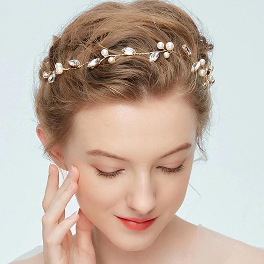 Goudkleurig Haar Sieraad met Ivoorkleurige Parels en Diamanten-1