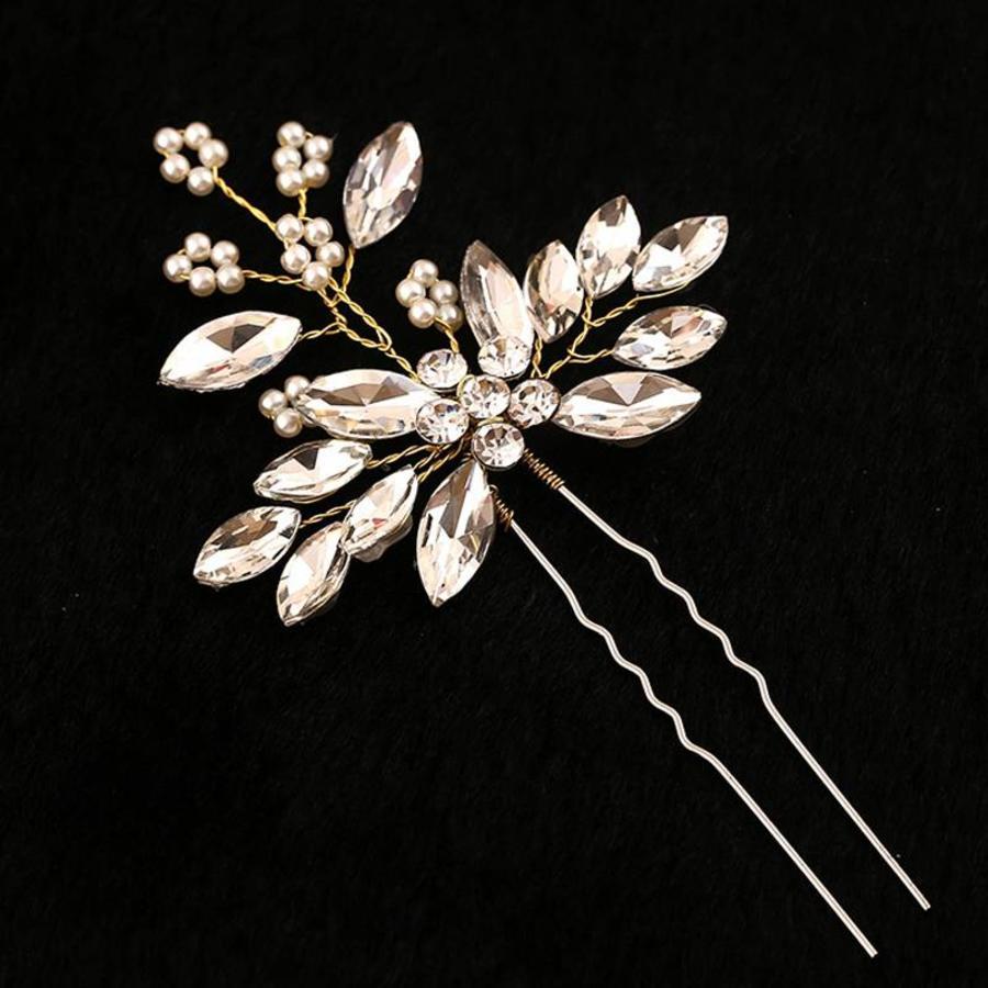 Goudkleurige Hairpins met Diamanten en Pareltjes - 2 Stuks-3