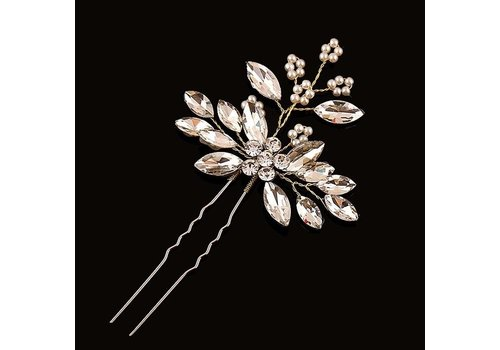 Goudkleurige Hairpins met Diamanten en Pareltjes - 2 Stuks