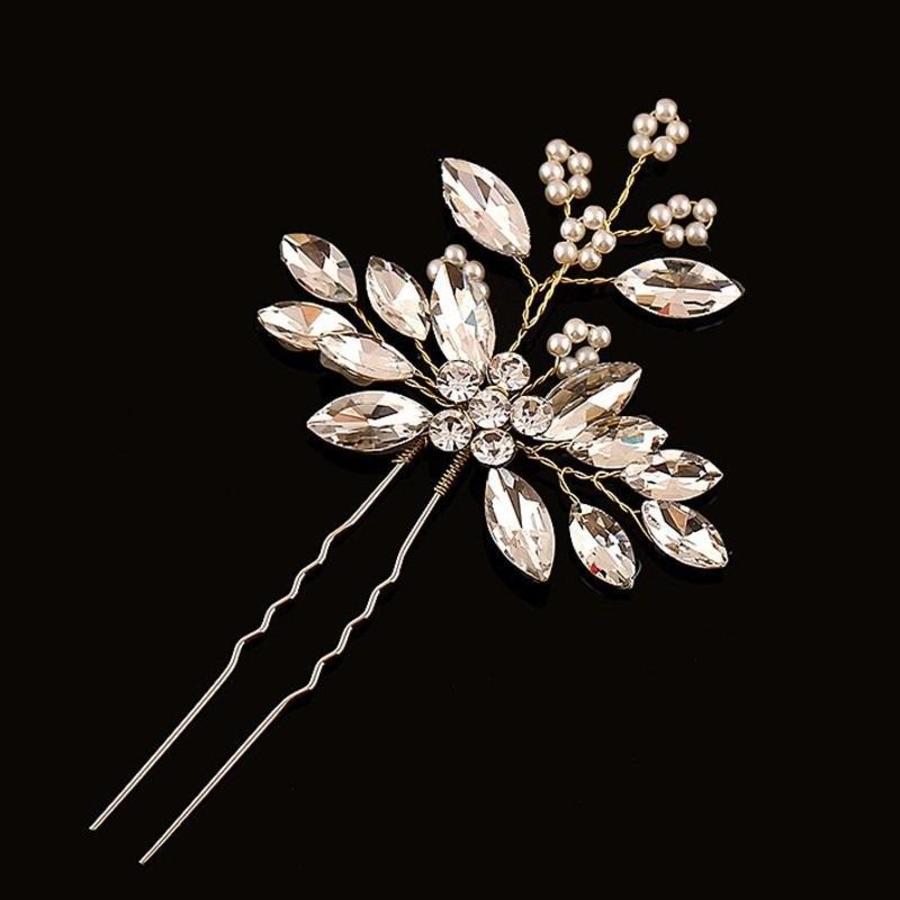 Goudkleurige Hairpins met Diamanten en Pareltjes - 2 Stuks-1