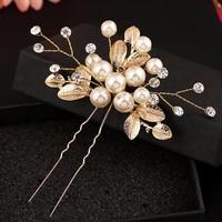 thumb-Goudkleurige Hairpins met Diamanten, Blaadjes en Parels - 2 Stuks-1