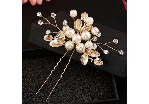 Goudkleurige Hairpins met Diamanten, Blaadjes en Parels - 2 Stuks