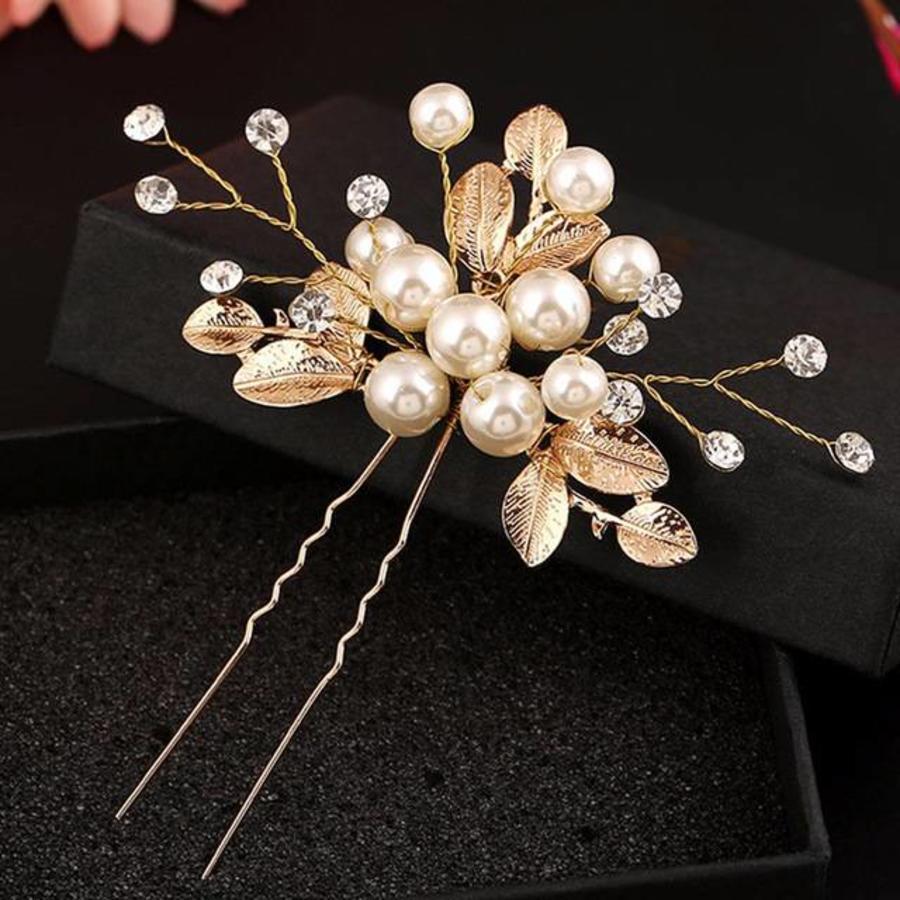Goudkleurige Hairpins met Diamanten, Blaadjes en Parels - 2 Stuks-1