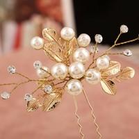 thumb-Goudkleurige Hairpins met Diamanten, Blaadjes en Parels - 2 Stuks-4