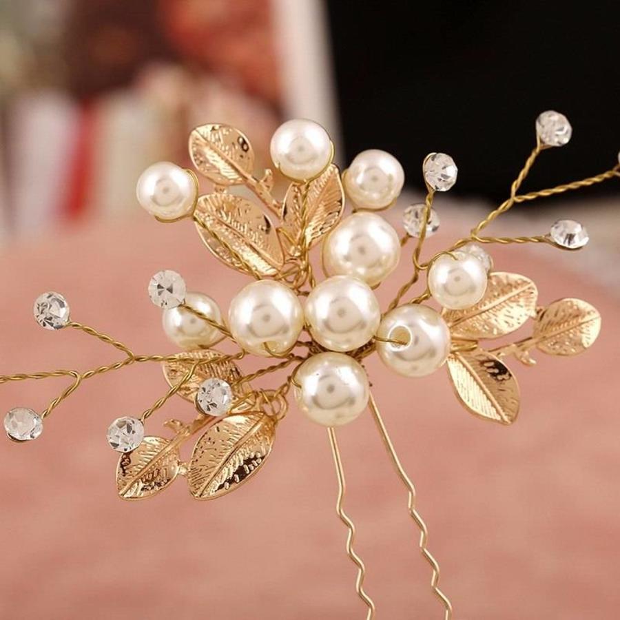 Goudkleurige Hairpins met Diamanten, Blaadjes en Parels - 2 Stuks-4
