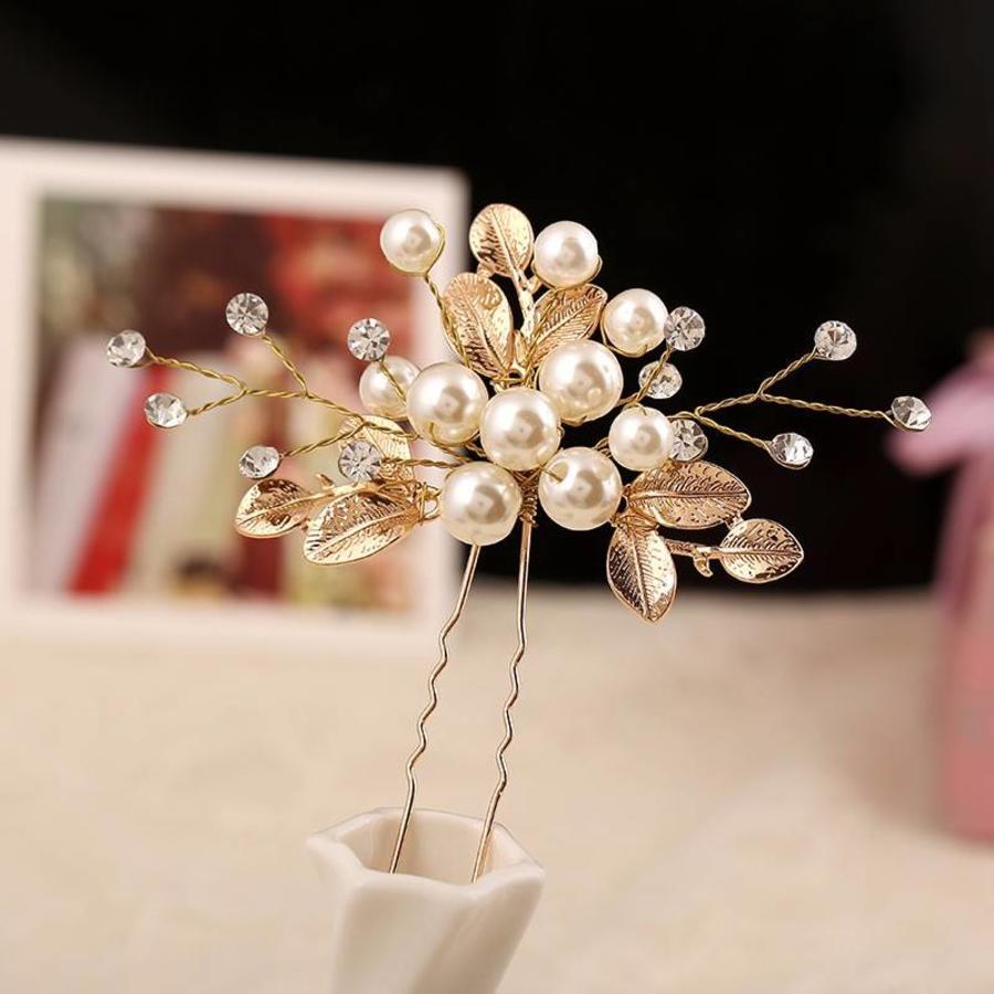 Goudkleurige Hairpins met Diamanten, Blaadjes en Parels - 2 Stuks-5