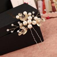 thumb-Goudkleurige Hairpins met Diamanten, Blaadjes en Parels - 2 Stuks-6