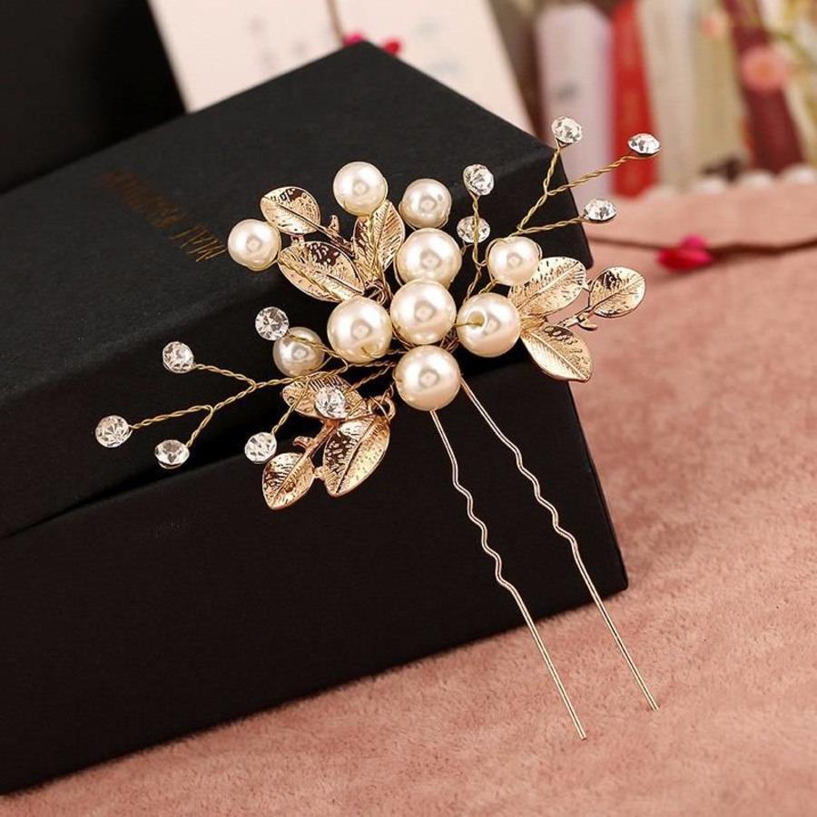 Goudkleurige Hairpins met Diamanten, Blaadjes en Parels - 2 Stuks-6