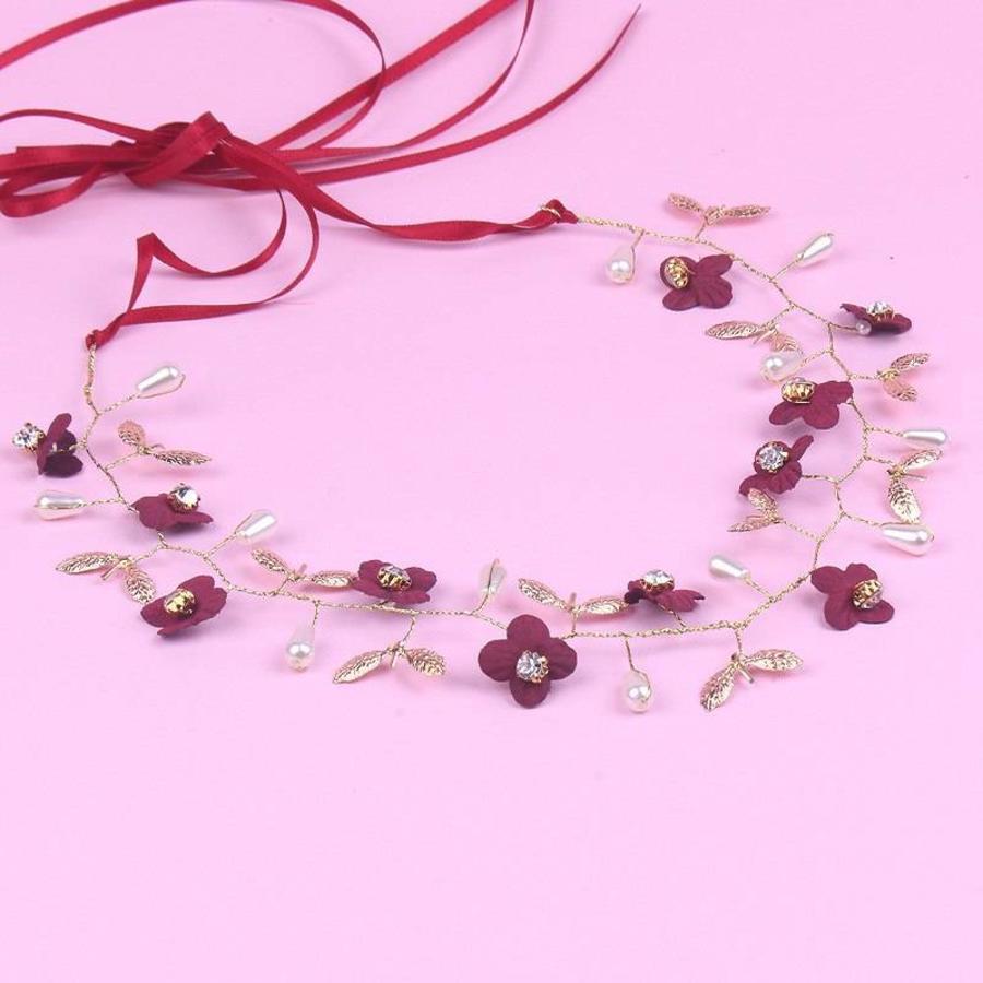Goudkleurig Haar Sieraad met Donker Rode Bloemen-3
