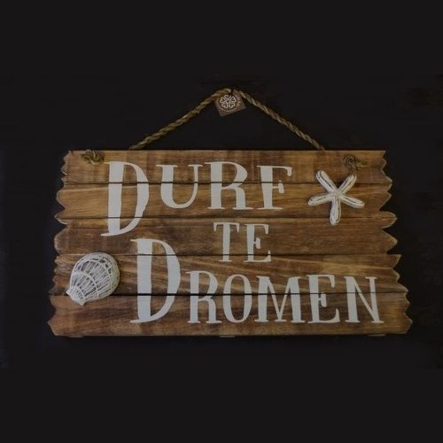"Houten Tekstplank / Tekstbord 26x44cm ""Durf te Dromen"" - Kleur Naturel-5"