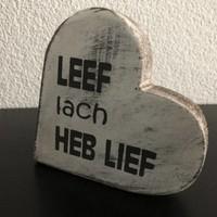 """thumb-Houten Teksthart 10 cm """"Leef Lach Heb Lief"""" - Kleur Antique White-3"""